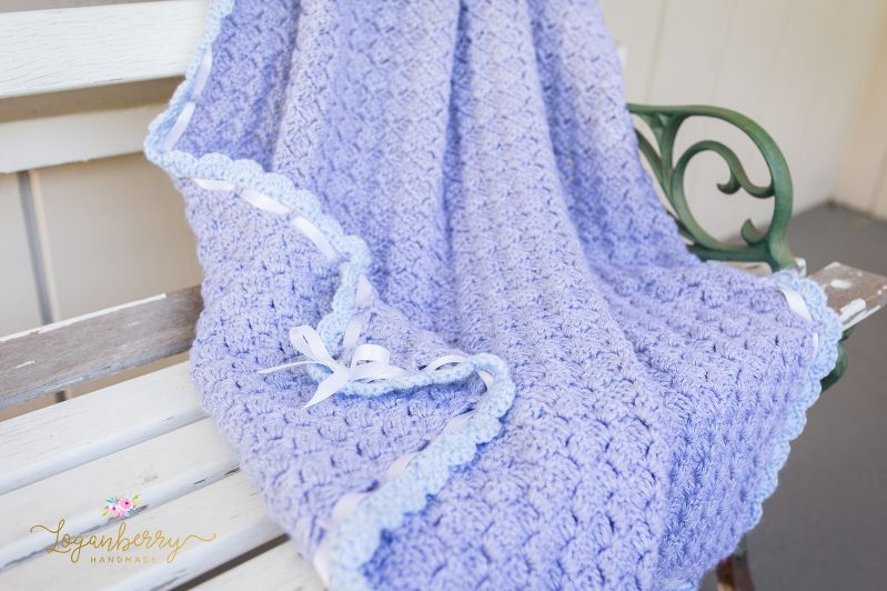 crochet baby blanket with free pattern, crochet blanket with scallop ...