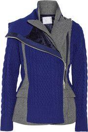 SacaiPaneled wool-blend peplum jacket