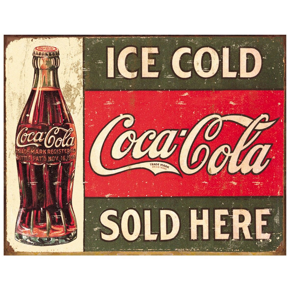 Coca Cola Ice Cold Coke Sold Here Tinplate Metal Sign | Tin Plate ...