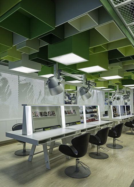 Green boxes cover the ceiling of Clip hair salon by Sweco Architects  K project, 집 ...