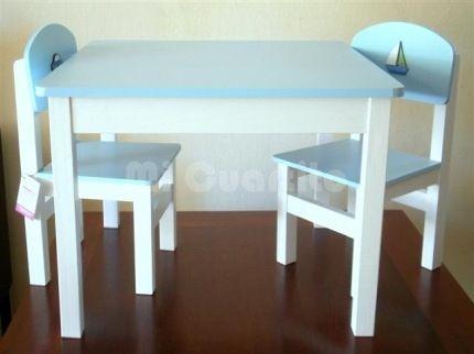Juego de mesa y sillas para ni os dise os pinterest - Mesas madera ninos ...