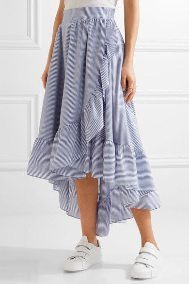 ce008f8579 Maje Wrap Effect Ruffled Striped Poplin Midi Skirt Blue Skirt Outfits, Midi  Wrap Skirt,