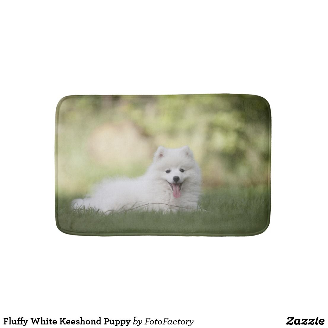 Fluffy White Keeshond Puppy Bath Mat Zazzle Com Pet