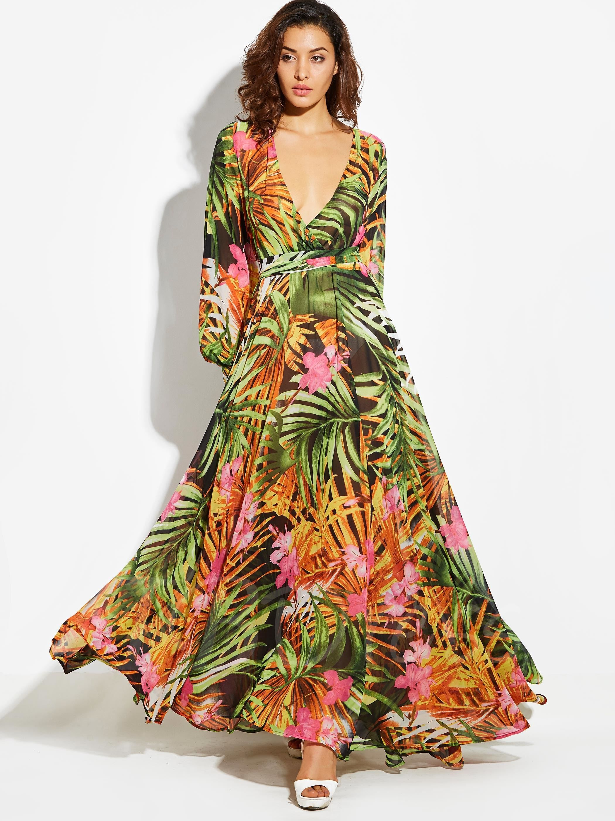 Floral Print V-Neck Bishop Sleeve Vacation Women s Maxi Dress   luaupartyideas  luaudressideas 57d490bf9911