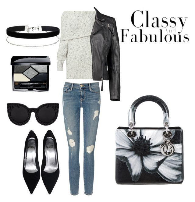 """""""black n white effect"""" by hellodielilly on Polyvore featuring Joie, Frame Denim, Boohoo, Christian Dior and Miss Selfridge"""
