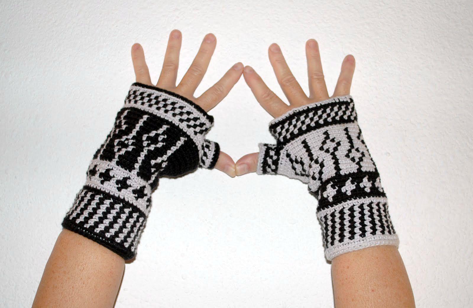 MITENES BlackandWhite | crochet | Pinterest | Mitones y Tejido