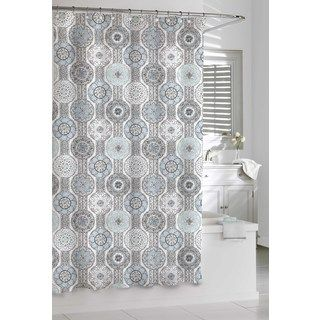 Sweet Jojo Designs Blue and Taupe Hayden Cotton Shower Curtain ...