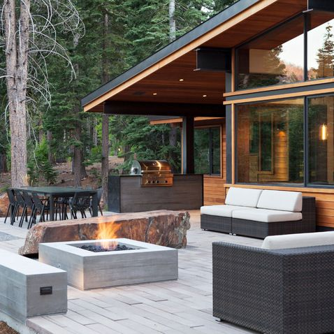 Board Formed Concrete fire pit, bench, grill (with steel) love the mix of materials.... GORGEOUS