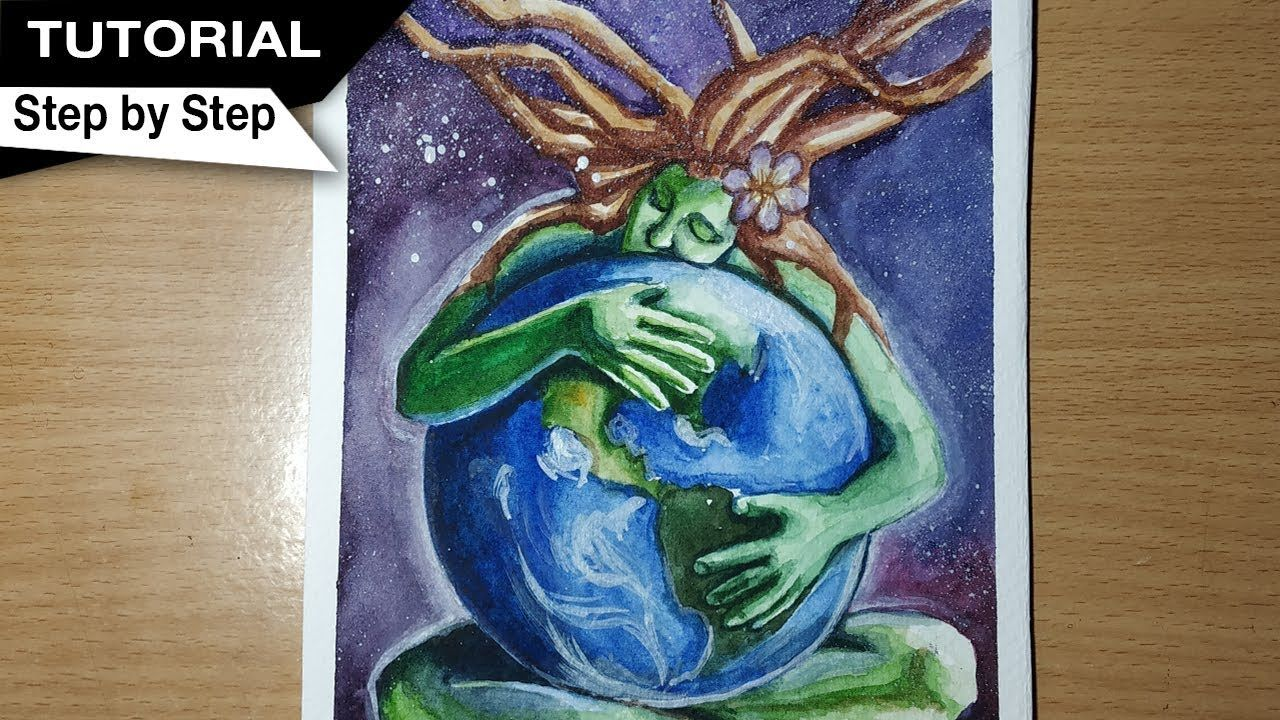 How To Draw Mother Earth Painting Save Tree Save Earth Save