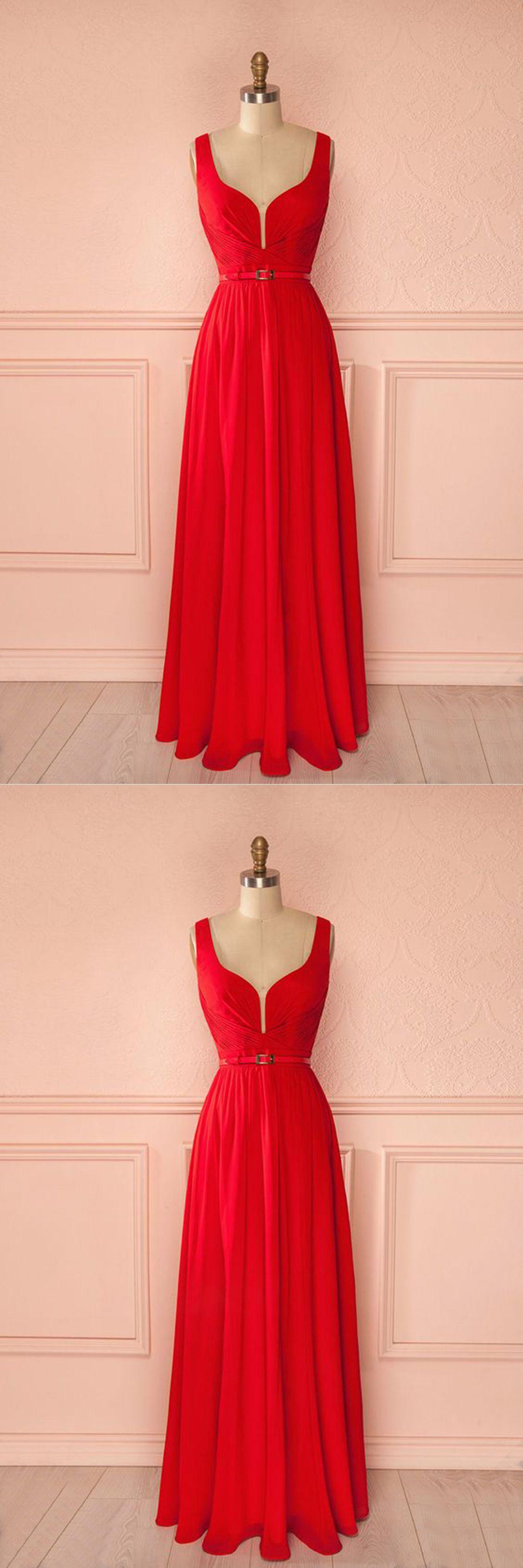 Simple red chiffon v neck floor length halter prom dress long