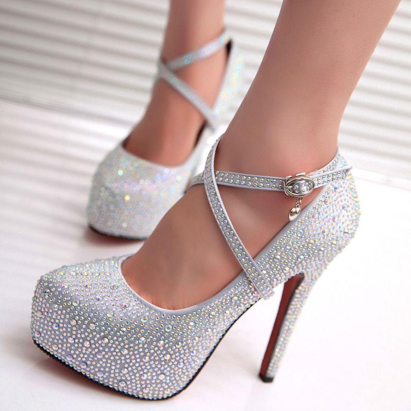 Women Glitter Rhinestones Studded Pumps Platform Wedge High Heel Shoes  Strappy on Luulla