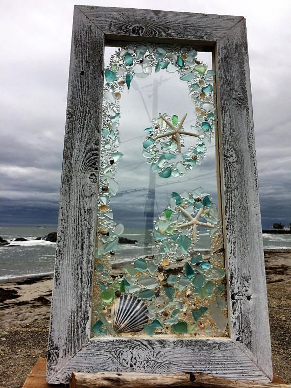 Photo of Beach glass panels with white starfish | Etsy