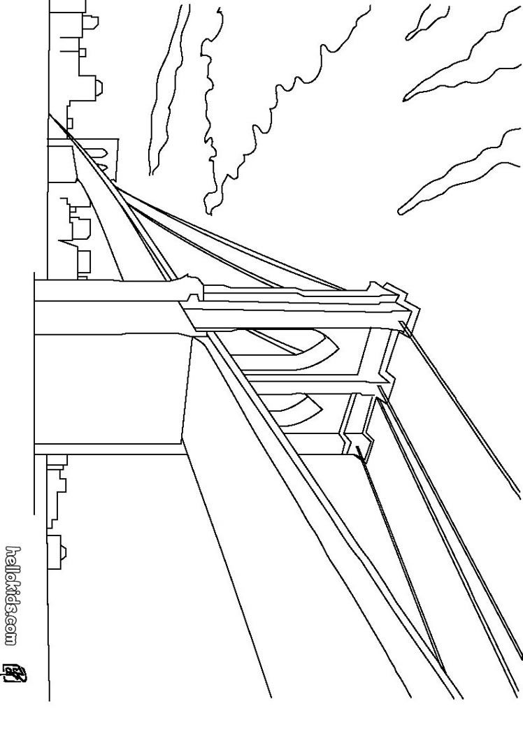 Coloring pages for United States Landmarks Brooklyn Bridge etc