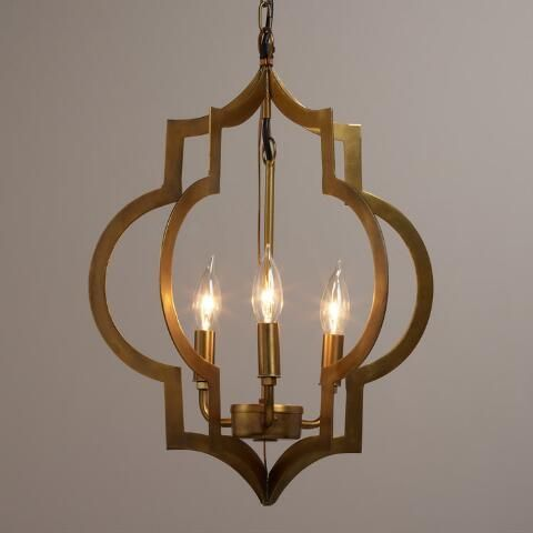 Gold quatrefoil 3 light pendant lamp world market
