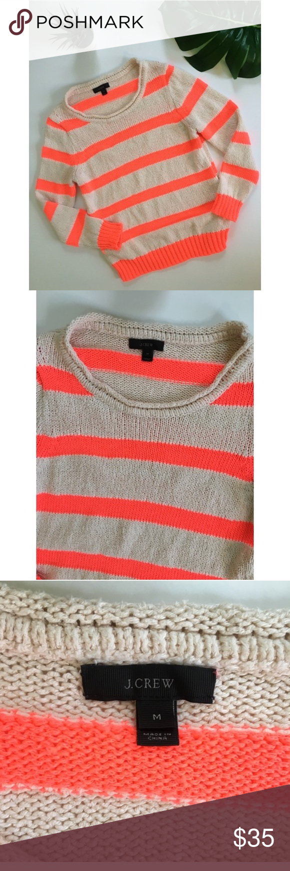 J. Crew Neon Orange and Cream Striped Sweater | Orange pink, Pink ...