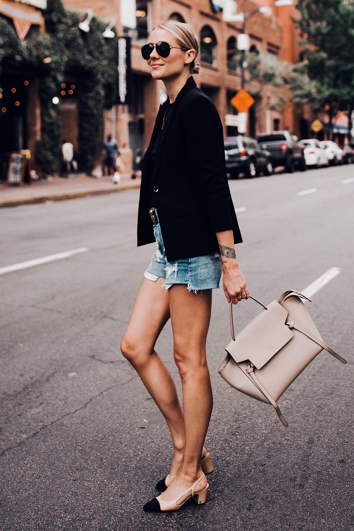 34176ac612 Blonde Woman Wearing Black Blazer Denim Ripped Shorts Chanel Slingbacks  Celine Mini Belt Bag Aviator Sunglasses Fashion Jackson San Diego Blogger  Fashion ...
