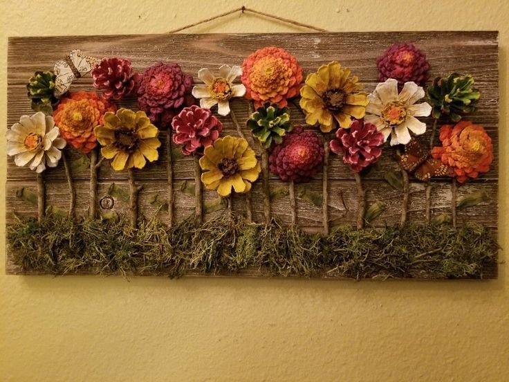 Hand Painted Pinecone Flowers On Barnwood Wall Decor Pine Cone Decorations Cones Crafts Painted Pinecones