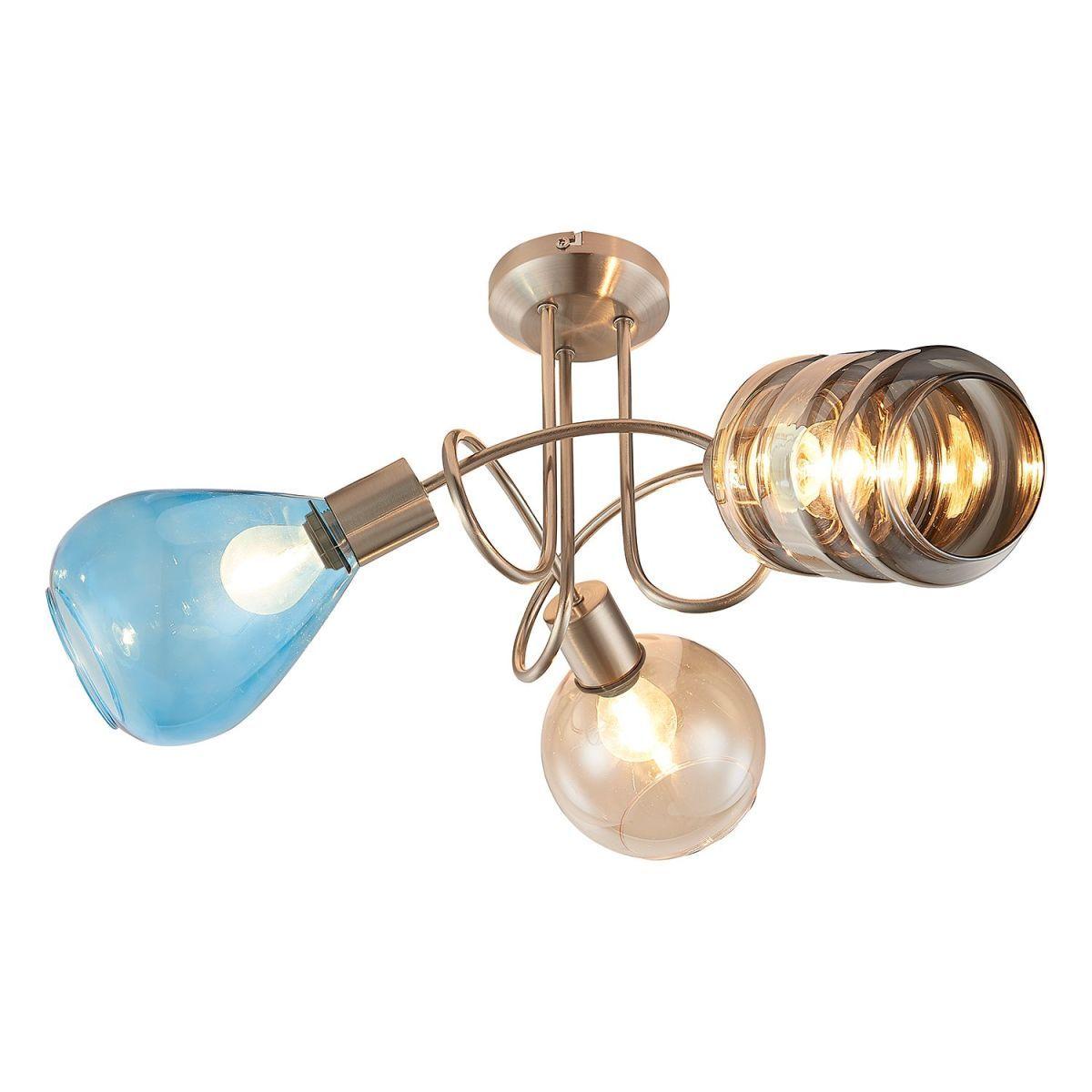Deckenle Industriedesign eek a deckenleuchte pesaro varied glas eisen 3 flammig