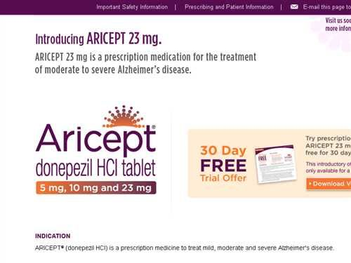 Brand Aricept Generic Donepezil Indication Dementia Medical Prescription Pharmacology Alzheimer S Disease