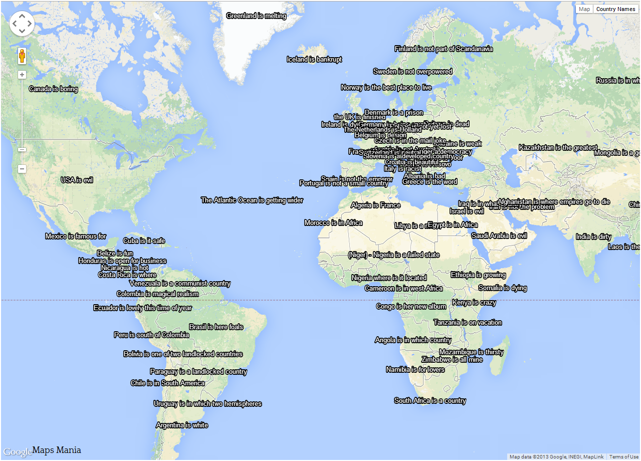 Google Maps Tells You What Your Country Is…… | Custom Google Maps ...