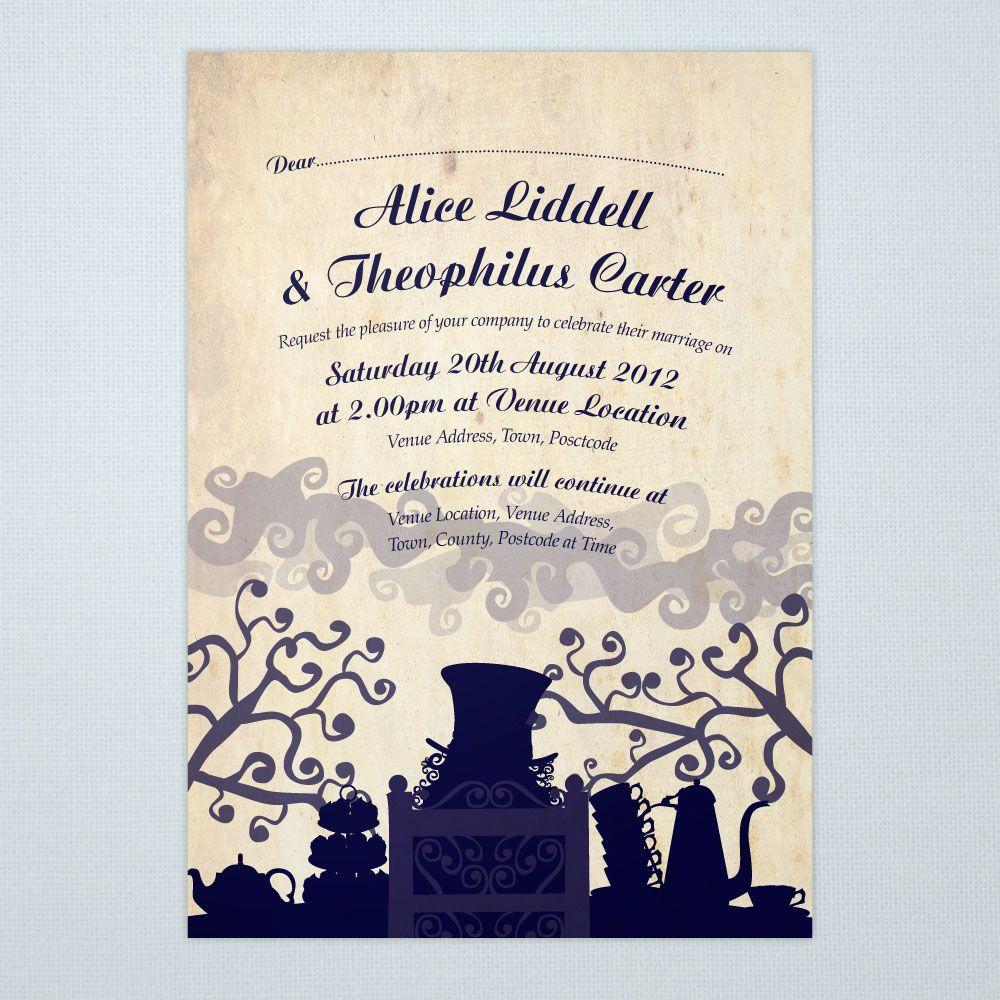 alice in wonderland wedding invitations stationery ink curlsink and curls - Alice In Wonderland Wedding Invitations