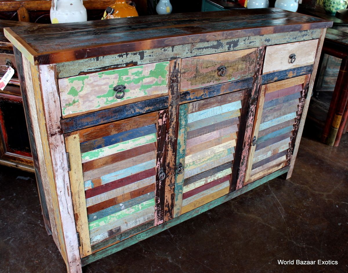 Wood dresser distressed furniture reclaimed wood furniture hand painted furniture colorful furniture