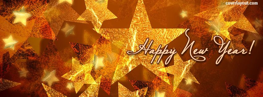 Happy New Year Gold Stars Facebook Cover
