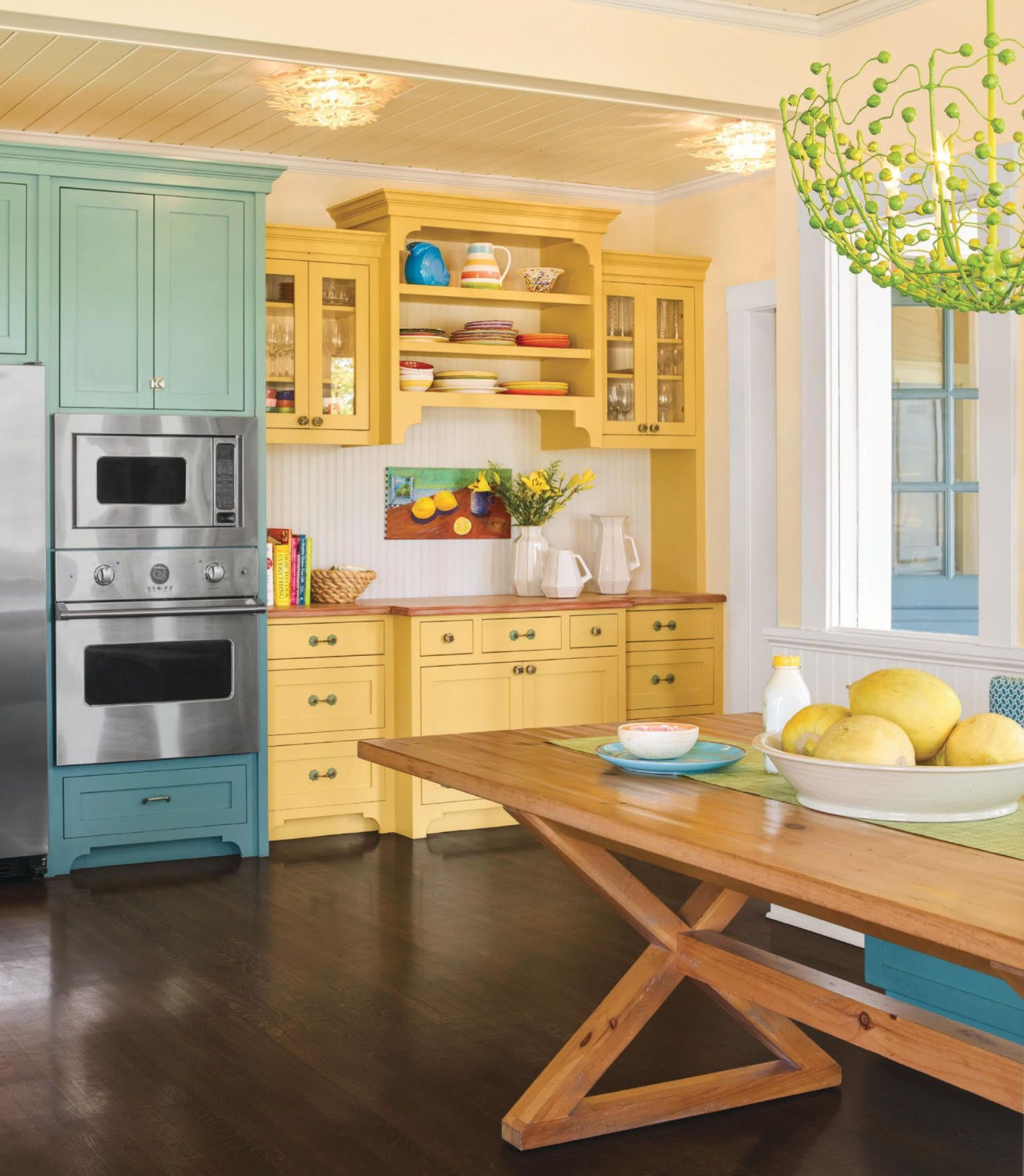 Pale Yellow Country Kitchen: Country Kitchen. Teal. Green. Yellow. This Old House