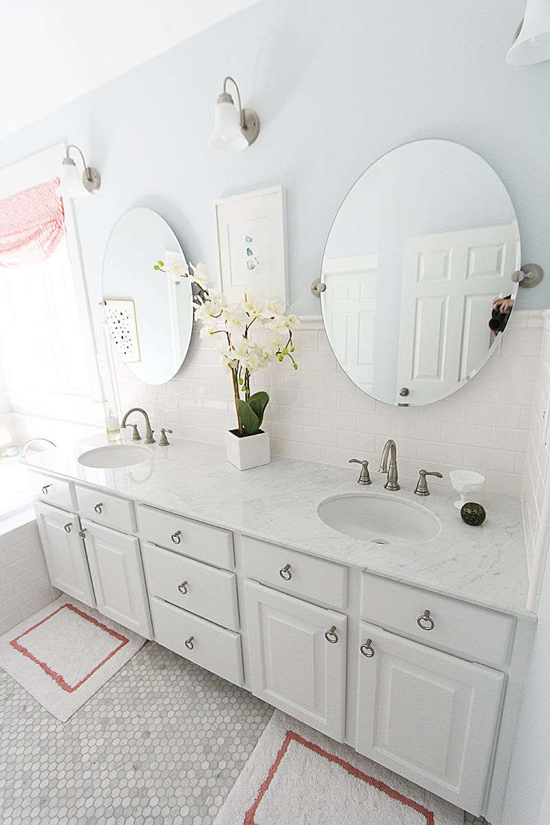 Master bathroom subway tile backsplash marble hex floors with master bathroom subway tile backsplash marble hex floors with touches of coral dailygadgetfo Choice Image