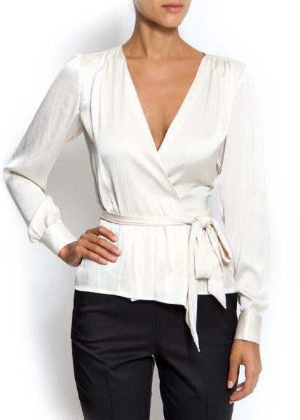 wrap blouses for women | Mango Wrap Blouse in White (10) - Lyst -…