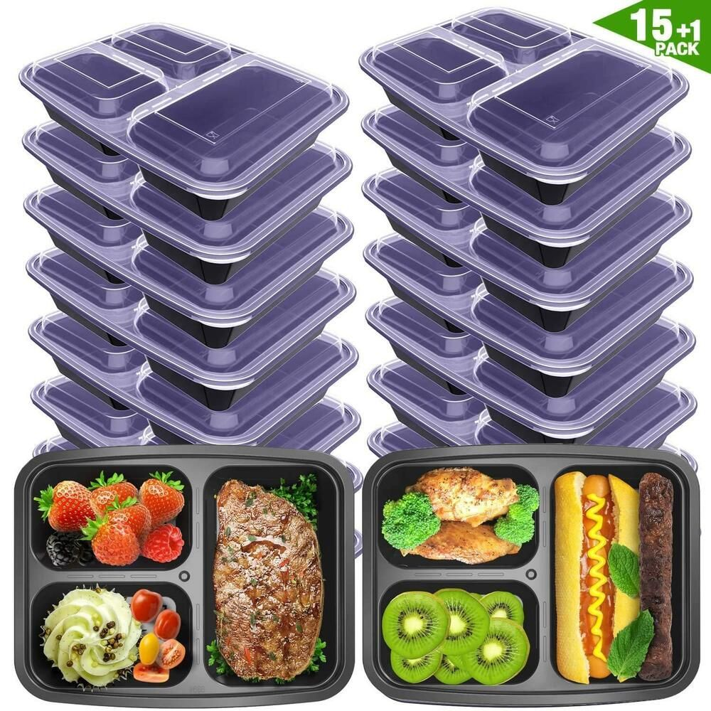 Meal Prep Containers 3 Compartment with Lids BPA Free Food
