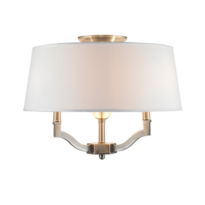Golden Lighting 3500-SF-CWH Waverly 3 Light Semi Flush Ceiling Fixture with Whit Pewter Indoor Lighting Ceiling Fixtures Semi-flush