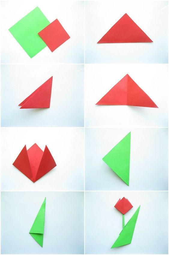 einfache origami tulpe falten mit kindern zeichnen in der grundschule pinterest tulpe. Black Bedroom Furniture Sets. Home Design Ideas