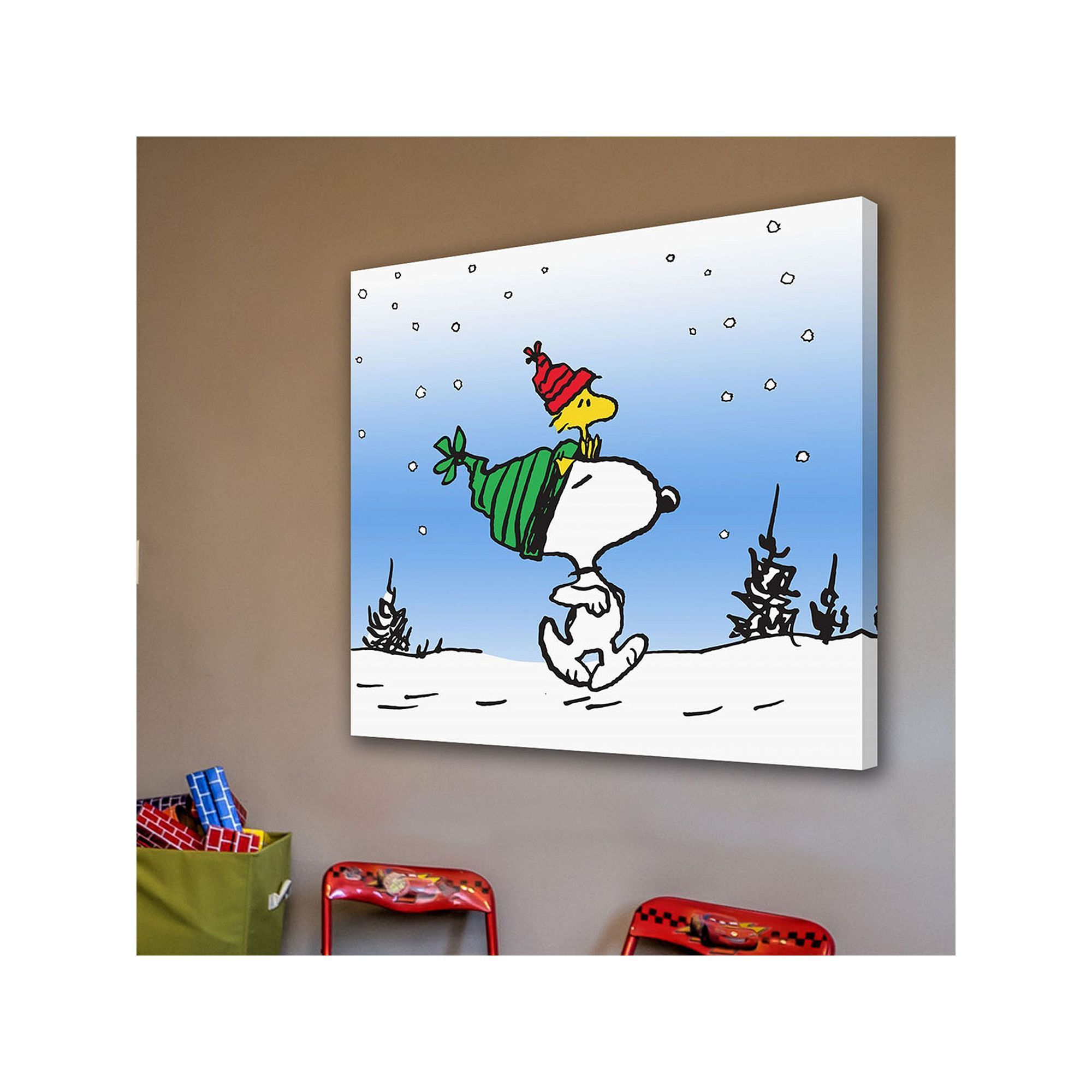 Marmont hill peanuts snoopy snow canvas wall art multicolor