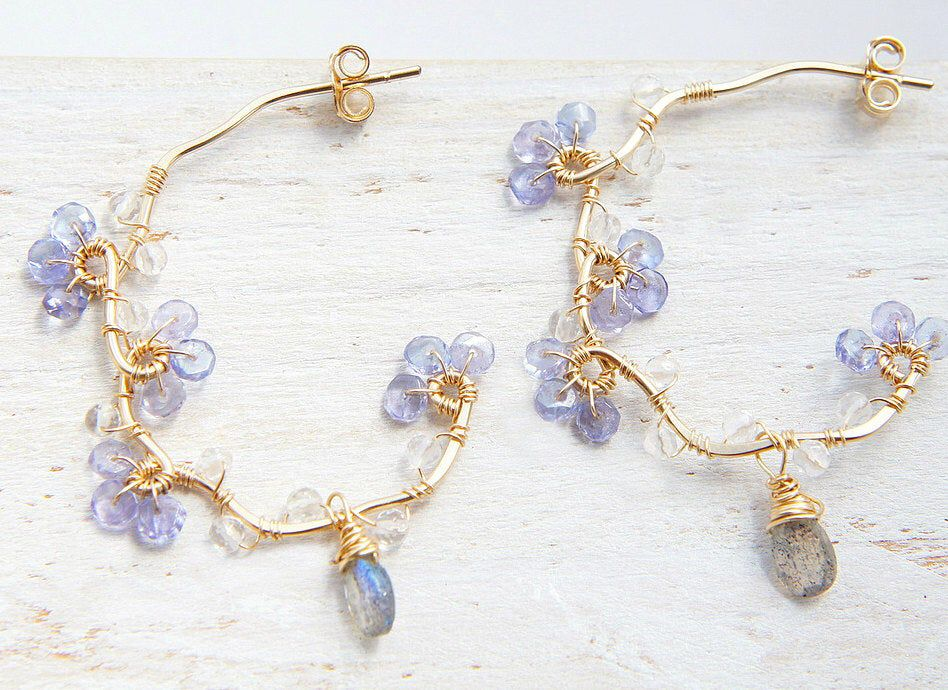Photo of Don't Forget Me Earrings, Tanzanite Earrings, Gold Vine Hoop, Nature Inspired, Dainty Jewelry