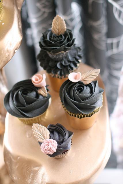 Black Rose Gold Cupcakes Cupcake Whimsey Pinterest Cupcakes