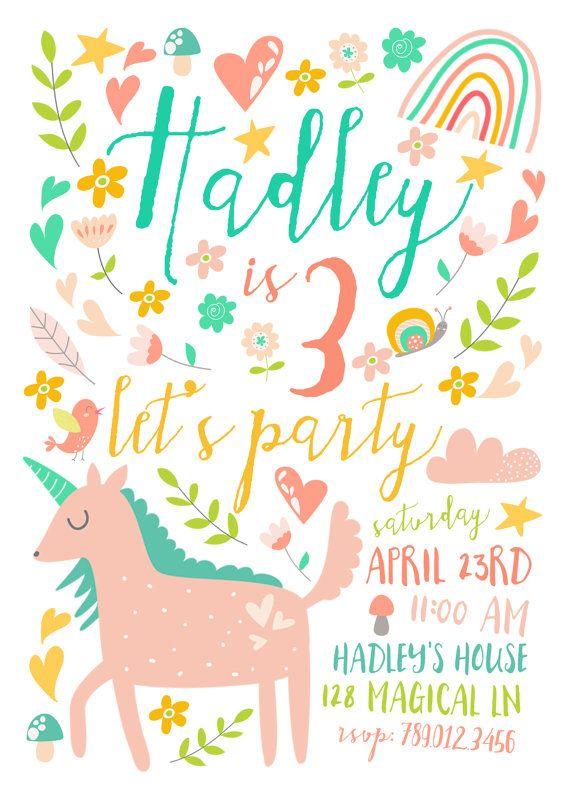 Unicorn Birthday Party Invitations Printable By INVITEDbyAudriana