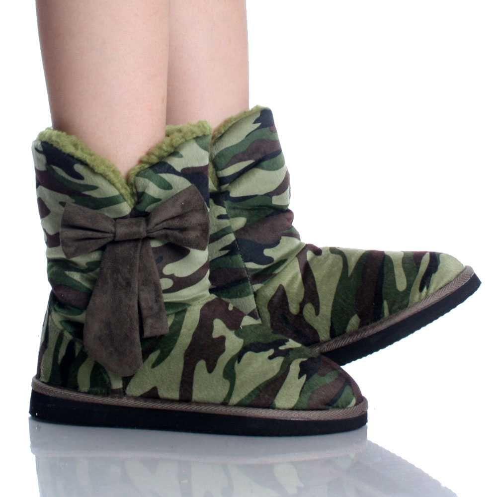 Camo Dress Shoes Green Camo Suede Shearling Fur Bow
