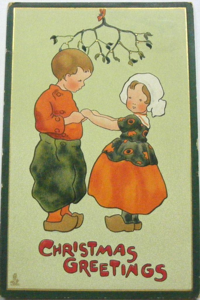 Art deco christmas card dutch couple holding hands under the art deco christmas card dutch couple holding hands under the mistletoe m4hsunfo
