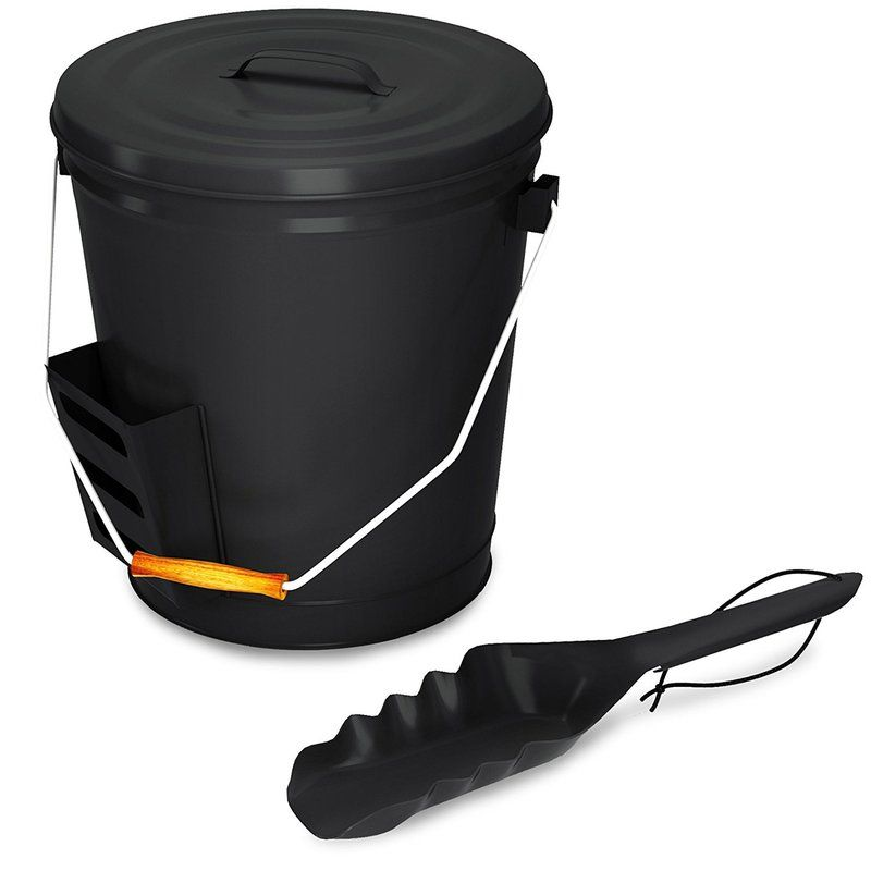 Ash 2 Piece Steel Fireplace Tool Bucket With Lid Fireplace Tools Fireplace Accessories