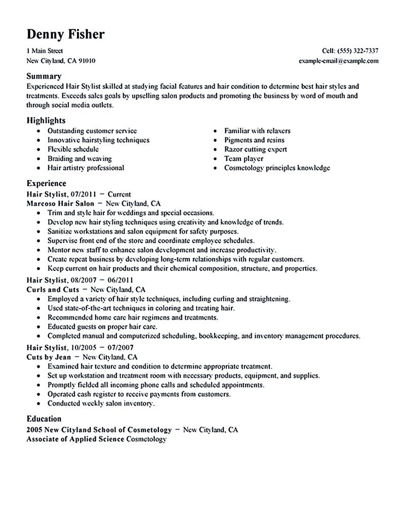 Hair Stylist Resumes Hair Stylist Resume Is A Must Thing To Have And To Offer When You .
