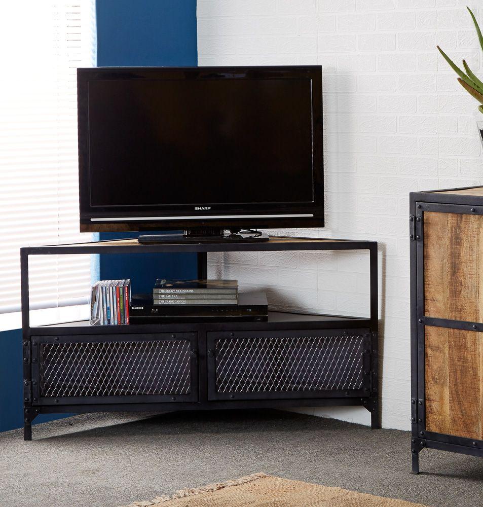 Ascot Urban Industrial 2 Door 1 Shelf Corner Tv Unit Corner Tv