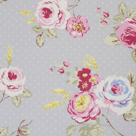 english rose - sage - pale green cotton fabric with vintage pink