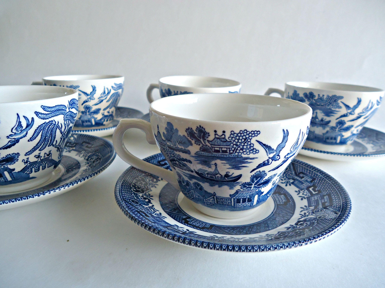 Ceramic Measuring Cups Vintage Floral Blue Willow