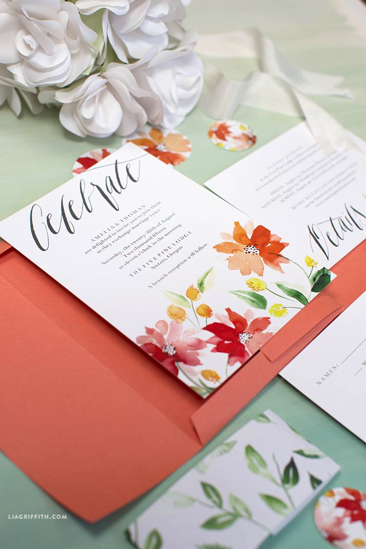 Watercolor Wedding Invitations | Pinterest | Watercolor, Floral ...