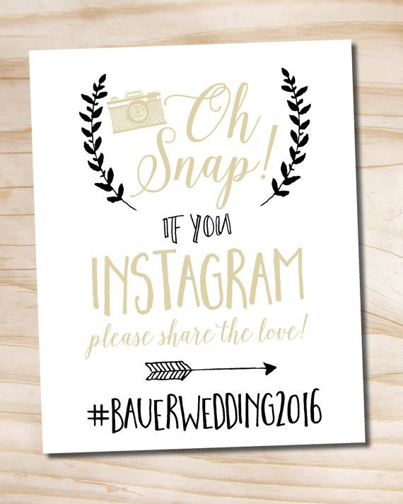 photograph relating to Wedding Sign Printable named Oh Snap Instagram Black and Gold Wedding day Indication 8x10 printable