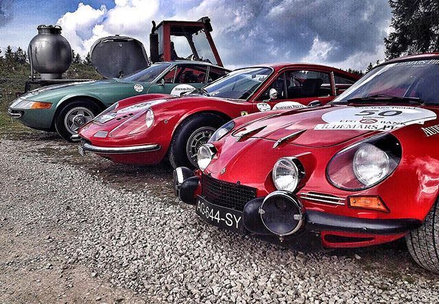 Now that's a trio.  #renault#ferrari#barnfind#classiccar#drivetastefully#vintage#landscape#landscapes#cloudporn#clouds#cloud#sunset#sky#nature#naturelover#naturelovers#instagood#instadaily#travel#beautiful#instacool#tbt#rich#love#photooftheday#switzerland#france#colorful