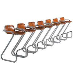 Set of Seven Tubular Barstools in the Style of Charlotte Perriand, France 1960s