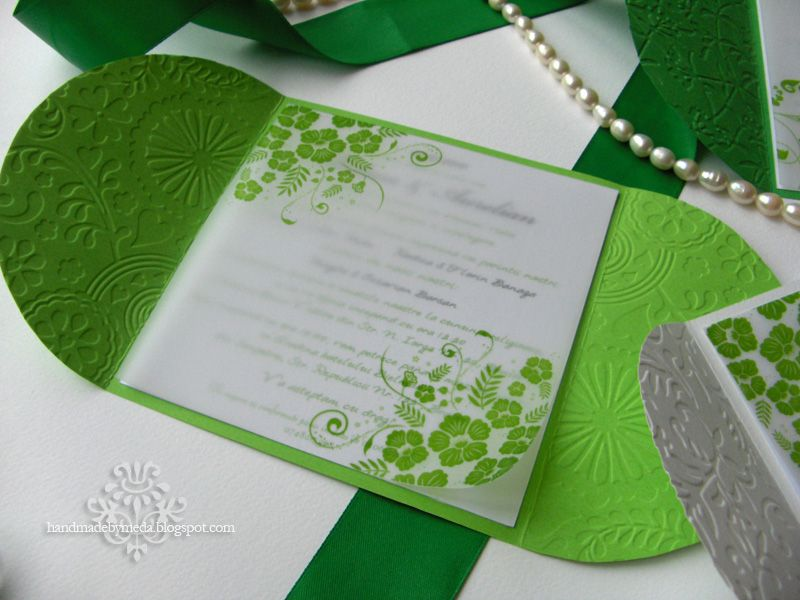Marvelous Green And Gray Wedding Invitations | Fresh Green Invitation With Green Bow  Invitatie Verde Crud