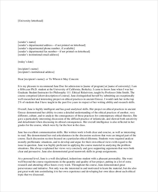 sample recommendation letter format documents pdf word business - formal letter of recommendation